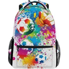 マキク(MAKIKU) リュック 大容量 軽量 リュックサック レディース 高校生 A4 中学生 小学生 通学 サッカー ボール柄 カラフル