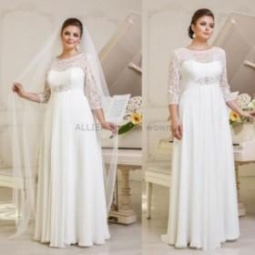 ウェディングドレス/ステージ衣装 エレガントなホワイト/アイボリーレースシフォンウェディングドレスブライダルドレスプラスサイズ18 20