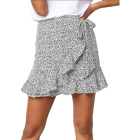 maweisong Women's Summer Asymmetrical Ruffles Cute Skirts Casual Mini Skirt White M