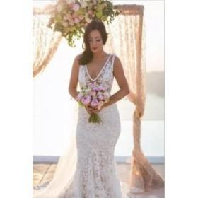 ウェディングドレス/ステージ衣装 ヴィンテージVネックマーメイドレースウェディングドレスホワイト/アイボリーノースリーブブライダルド