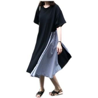 TACO(タコ)ロングワンピース レディース 韓国風 夏 ストライプ フレアワンピース Tシャツ 半袖 シンプル ゆったり カジュアル 体型カバー 着痩せ おしゃれ オルチャン シルエット BLACK