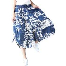 (シンイ)Xin Yi レディース ガウチョ パンツ ワイドパンツ スカンツ キュロット 麻綿 花柄 七分丈 ガウチョパンツ カジュアル ゆったり 大きめ 爽やか 多色 夏 薄手
