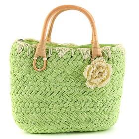 [スゴフィ]SGFY かごバッグ 花付き 花飾り レディーストートバッグ 手提げ バッグ 軽量 7色 編み バッグ プレゼント ストローバッグ 夏 (01)