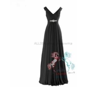 ウェディングドレス シフォンロングビーズブライドメイドフォーマルパーティーカクテルイブニングウェディングドレス