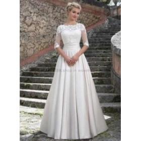 ウェディングドレス/ステージ衣装 ヴィンテージレースサテンAラインウェディングドレスホワイト/アイボリーハーフスリーブ2018ブライダル