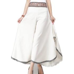 (エンジェルムーン) AngelMoon ガウチョパンツ レディース ゆったり ロング丈 ワイドパンツ アジアン 刺繍 (フリーサイズ, ベージュ)