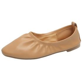 [GWEI] 柔らかい素材 パンプス レディース 幅広 ローヒール バレエシューズ 歩きやすい 軽量 ぺたんこ フラット シューズ 婦人靴 ルームシューズ (24.5cm, アプリコット)