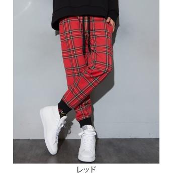 ジョガーパンツ - improves チェック スウェット ジョガーパンツ メンズ レディース スウェットパンツ スリム ダンス セットアップ 上下 可能 スエットパンツジャージ パンツ チェック柄 イージーパンツ レッド ブラック 赤 黒 サーフ系 ストリート系 メンズファッシ