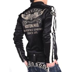 【当店別注】(バンソン) VANSON ライダース フライングエンブレム 刺繍&ワッペン ボンディング ライダース ジャケット JFV-802-BLACK (L, ブラック)