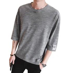 Tシャツ メンズ 半袖 カットソー Tシャツ ゆったり かっこいい カジュアル ファション grey 2XL