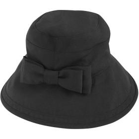 Rose Blanc(ロサブラン) 帽子 レディース 100%完全遮光 リボン ハット12cm 各サイズ(つば裏遮光/通気性タイプ) (シャンブレーブラック(M~L))