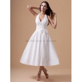 ウェディングドレス ヴィンテージティーレングスショートウェディングドレスホルターストラップセクシーなVネックブライダルドレス