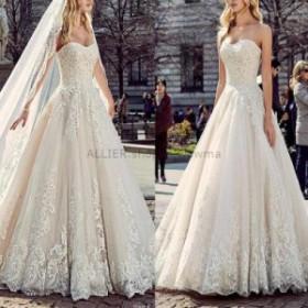 ウェディングドレス/ステージ衣装 魅力的なレースチュールAラインウェディングドレスホワイト/アイボリーストラップレス2018ブライダルド
