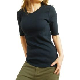 (ケージービー)K.G.B 5分袖 Tシャツ レディース カットソー 定番 無地 インナー コットン/4L/ブラック