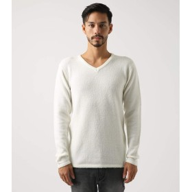 [アズールバイマウジー] ニット セーター ソフトブークレーVネック長袖PO メンズ S ホワイト