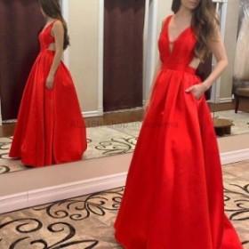 ウェディングドレス セクシーな赤いVネックオープンバック サテン イブニングドレスポケット付きフォーマルウエディングドレス