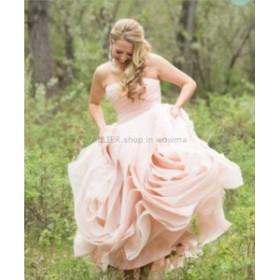ウェディングドレス/ステージ衣装 ゴージャスなブラッシュ/ピンクストラップレスウェディングドレスオーガンジーフリルマーメイドブライ