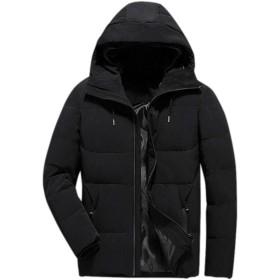 HiCollieメンズ ダウンコート 中綿ジャケット 無地 長袖 フード付き ダウンジャケット スリム カジュアル ダウンコート 軽量 防風 防寒 通学通勤 アウター 2色