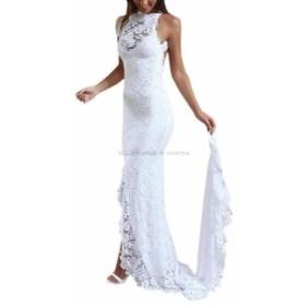 ウェディングドレス ホットセクシーなシースレースバックレスビーチウェディングドレスサイドスプリットブライダルドレス