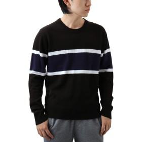 [REPIDO (リピード)] クルーネック メンズ セーター ニット カシミア カシミヤ ボーダー 丸首 アクリル 長袖 ブラック Mサイズ
