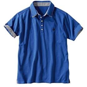 [nissen(ニッセン)] 二重衿デザイン 半袖 ポロシャツ 大きいサイズ メンズ ブルー 10L
