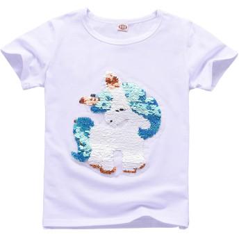 3-11歳の女の子ユニコーンスパンコールTシャツ (150, TDJS-W01)