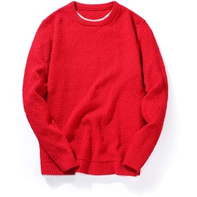 oolivupf ニット メンズ セーター 綿100% 裏起毛 無地 大きいサイズ 防寒 春/秋/冬(702 red M)