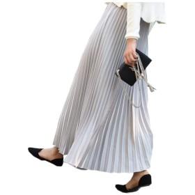 プリーツスカート 着痩せ フレア 体型カバー スカート マキシスカート マキシ ロングスカート ウエストゴム (80cm, ライトグレー)