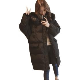MLboss中綿 コート レディース ゆったり 綿入れ ロングコート フード付き 韓国ファッション アウター 冬服 ダウンコート あったか 防寒着(R黒)