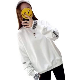MLbossパーカー レディース トレーナー トップス レイヤード系 カットソー 薄手 長袖 イエロー 原宿系 春服 tシャツ 黄色(P白)