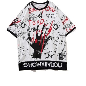 Pizoff(ピゾフ) メンズ 半袖Tシャツ ホワイト 韓国 ファション 綿 柄 おしゃれ ゆる hiphop ダンスウェア カジュアル-AL614-XXL