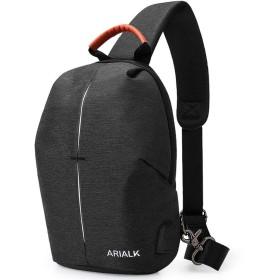 [ARIALK] 斜めがけ バッグ ボディバッグ ショルダーバッグ ワンショルダー バック メンズ USBポート付き 9.7インチIPAD入れる 通勤 通学 (ブラック)