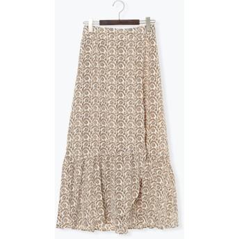【6,000円(税込)以上のお買物で全国送料無料。】デシンアラベスク柄ロングスカート
