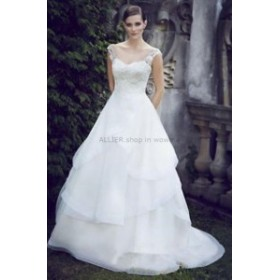 ウェディングドレス/ステージ衣装 ホワイト/アイボリーオーガンジーレースAラインウェディングドレスフリルオープンバックNEWブライダル
