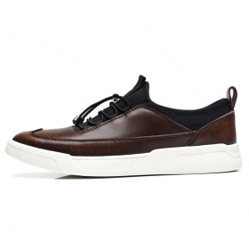 [QIFENGDIANZI] カジュアルシューズ メンズ レースアップシューズ トレッキングシューズ デッキシューズ シューズ 男性用 シンプル フラット 紳士靴 ローカット アウトドア 歩きやすい オシャレ ブラウン 26.0cm