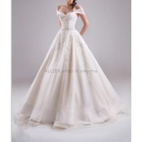 ウェディングドレス エレガントなラインオフショルダーレースチュールウェディングドレスジッパーバックブライダルドレス