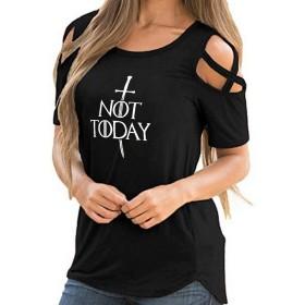 Jacklin Fashion GOTの女性のTシャツ、Not Today Needle Tシャツ、小説のファン&テレビファンのための冷たい肩カジュアルルーズストラップレスチュニック - 複数の色とサイズで利用可能