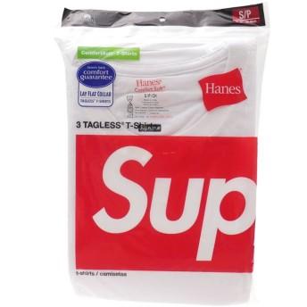[Lサイズ] SUPREME(シュプリーム) x Hanes(ヘインズ) Tagless Tee 3-pack (Tシャツ3枚セット) WHITE 200-005622-040 【新品】 [並行輸入品]