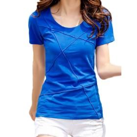 半袖 レディース Tシャツ パイピング カットソー 気痩せ スリム 薄手 綿 コットン ファッション シンプル (2XL(3L), 青)