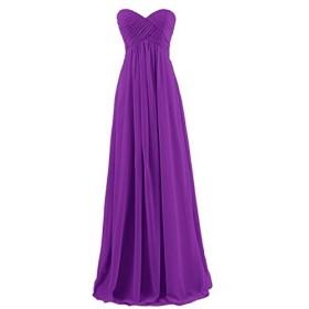 Yesfashion ロングワンピース シフォン ウェディングドレス レディース ブライズメイド きれいめ 結婚式 お呼ばれ ドレス フォーマル 二次会ドレス パーティーワンピース 深紫色2XL