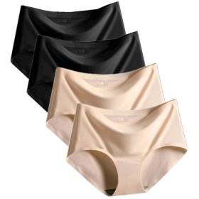シームレスショーツ レディース パンツ 下着 肌に優しい パンティ 無縫製 レギュラー 通気性【4枚セット/3枚セット】 (M (40-50kg), 従来の色【4枚セット】)