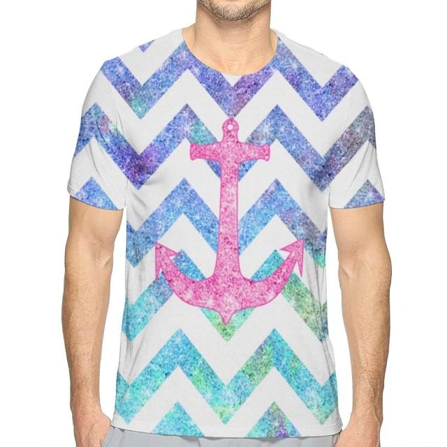 TradingCo 大人 男 半袖Tシャツ アンカー Oネック ティー Tシャツ シャツ 通勤 通学 普段着 XXL