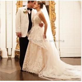 ウェディングドレス 花嫁ウェディングドレスブライダルドレスレース結婚式チュールラインハイネックノースリーブ