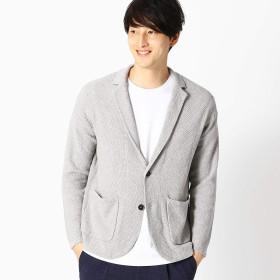 (コムサ イズム) COMME CA ISM 綿麻 鹿の子編み ニットジャケット 47-72KL11-109 L ライトグレー