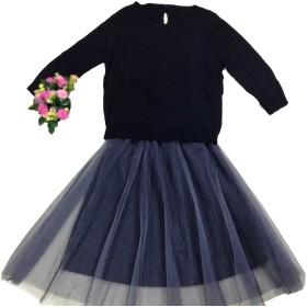 [ミニマリ] ニット チュールスカート セット ふんわり 切り替えワンピース ゆったり 着回し ツーピース 黒 ブラック Mサイズ