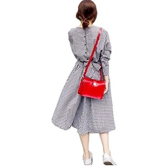 [ネモフィオール] ギンガムチェック ワンピース フレア 丸襟 リボン ひざ丈 レディース (ブラック, XL)