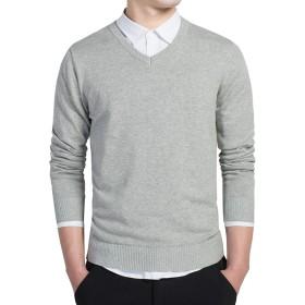 [LINSO] メンズ ニット セーター Vネック プルオーバー カジュアル ビジネス 綿100% 長袖 秋冬 グレー L