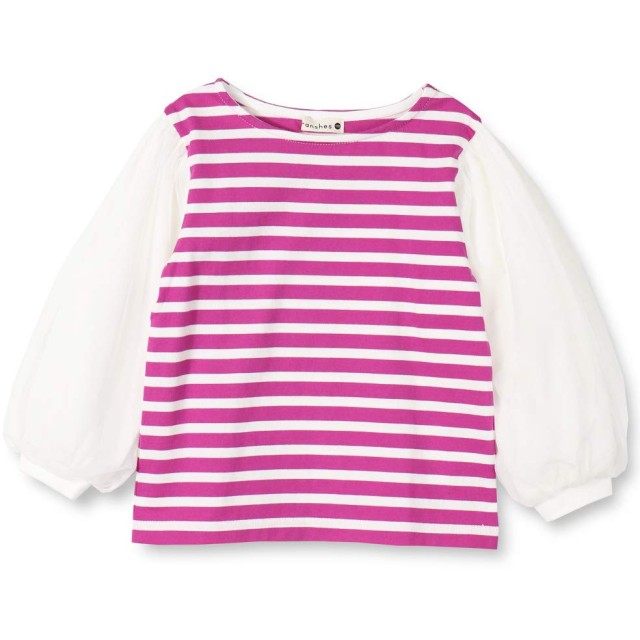 (ブランシェス) branshes 袖チュール 長袖 ボーダー Tシャツ 90cm ローズピンク