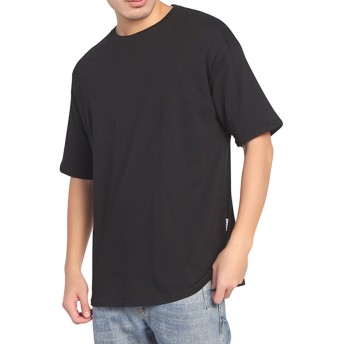 BIGHAS Tシャツ 半袖 純色 クルーネック ビッグシルエット シンプル 無地 メンズ 吸汗 速乾 おしゃれ ゆったり 男性用 カジュアル アレルギー対策済 (L(日本サイズ175~180相当), ブラック)