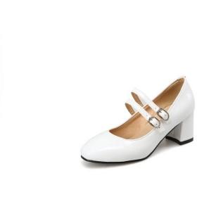 [BalaMasa] ブロックヒールパンプスコンフォートファッションポインテッドトゥウィメンズ APL11663 ホワイト - 22cm